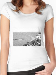 Agropoli: landscape with beach Women's Fitted Scoop T-Shirt