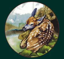 Red Deer Fawn Parked in the Fern T-Shirt