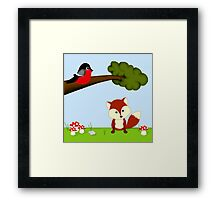 Woodland Fox and Bird Framed Print
