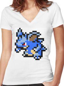 Pokemon 8-Bit Pixel Nidoqueen 031 Women's Fitted V-Neck T-Shirt