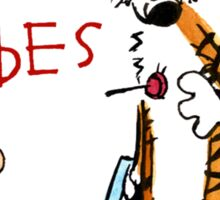 calvin and hobbes shoot on Sticker
