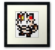 Pokemon 8-Bit Pixel Meowth 052 Framed Print