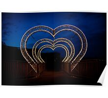 illumination of heart shape in park Poster