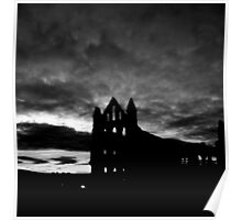 whitby abbey mono Poster