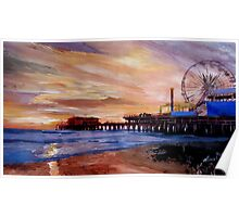 Santa Monica Pier at Sunset Poster