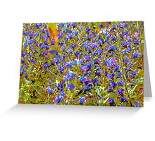 Blue Violet World Of Flowers Greeting Card