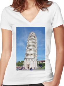 Leaning Tower of Pisa Women's Fitted V-Neck T-Shirt