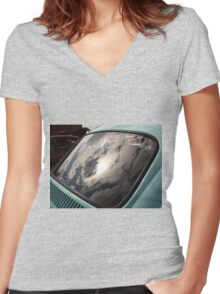 1972 VW Beetle window reflection Women's Fitted V-Neck T-Shirt