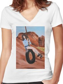 Swinging dreams Women's Fitted V-Neck T-Shirt