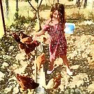 With the chickens by fruitcake