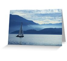 sailing on lake Zug, Switzerland Greeting Card