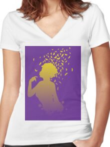 Girl with butterflies Women's Fitted V-Neck T-Shirt