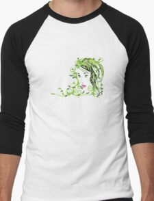 Girl with floral hair Men's Baseball ¾ T-Shirt