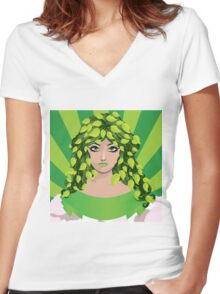 Girl with floral hair 4 Women's Fitted V-Neck T-Shirt