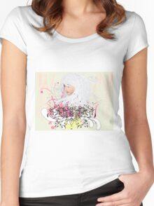 White hair girl Women's Fitted Scoop T-Shirt