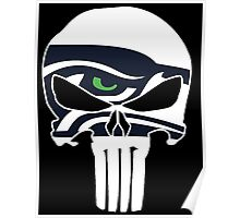 Seattle Seahawks Punisher Skull Poster