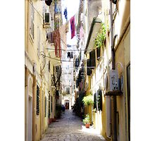Down the many lanes of Corfu Town Photographic Print