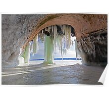 Cave and Ice Curtains on Grand Island near Munising Michigan Poster