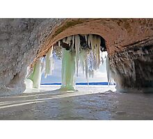 Cave and Ice Curtains on Grand Island near Munising Michigan Photographic Print