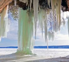Cave and Ice Curtains on Grand Island near Munising Michigan Sticker