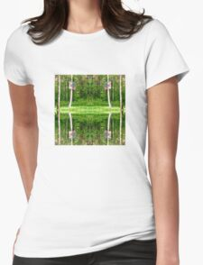Basketball Forest Court Reflection 1 Womens Fitted T-Shirt
