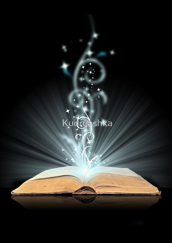 Open book magic on black by Kudryashka