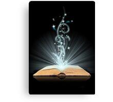 Open book magic on black Canvas Print
