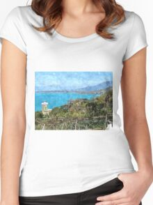 Agropoli: landscape with sea and tower Women's Fitted Scoop T-Shirt