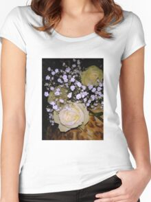 Bouquet of White roses 5 Women's Fitted Scoop T-Shirt