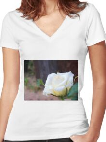 Small white Women's Fitted V-Neck T-Shirt