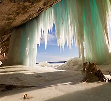 Cavern behind ice curtains on Grand Island on Lake Superior by Craig Sterken