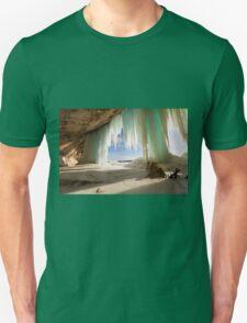 Cavern behind ice curtains on Grand Island on Lake Superior Unisex T-Shirt