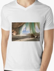 Cavern behind ice curtains on Grand Island on Lake Superior Mens V-Neck T-Shirt