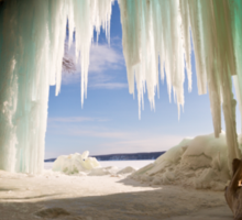 Cavern behind ice curtains on Grand Island on Lake Superior Sticker