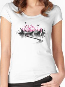 Cityscape background, urban art Women's Fitted Scoop T-Shirt