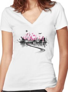 Cityscape background, urban art Women's Fitted V-Neck T-Shirt