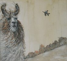Llama and Fighter Jet by brettisagirl