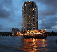 The light of Chao Phraya River at night by Alexeiz