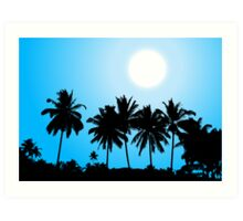 Tropical sunset, palm tree silhouette Art Print