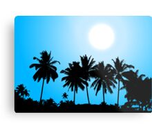 Tropical sunset, palm tree silhouette Metal Print