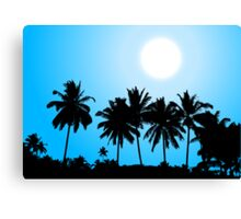 Tropical sunset, palm tree silhouette Canvas Print