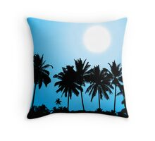 Tropical sunset, palm tree silhouette Throw Pillow