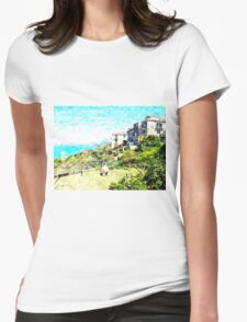 Agropoli: landscape with sea and tower Womens Fitted T-Shirt