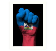 Flag of Haiti on a Raised Clenched Fist  Art Print