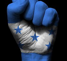 Flag of Honduras on a Raised Clenched Fist  by Jeff Bartels