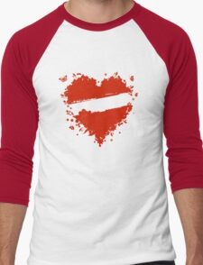 Floral heart shape Men's Baseball ¾ T-Shirt