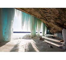 An Inside View of Grand Island Ice Curtains near Munising, Michigan Photographic Print