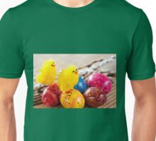 Easter eggss and yellow fluffy chickens  Unisex T-Shirt