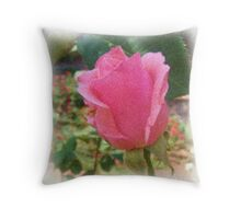 Pink Rose Bud - Impressionism Throw Pillow