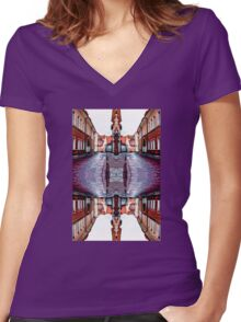 Old Town Street After Rain 4B Women's Fitted V-Neck T-Shirt